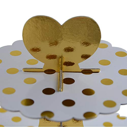 3-Tier Cardboard Cupcake Stand/Tower 2-Pack (Gold Dot) by My Party Time (Image #2)