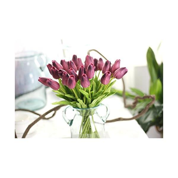 Coobl Artificial silk flower High grade decorative tulip flower wedding bouquet bride holding garlands vine DIY Floral art plant bride Home Decor(20pcs) (dark purple)