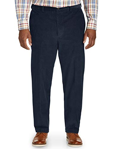 Oak Hill by DXL Big and Tall Straight-Fit Stretch Corduroy Pants, Navy Eclipse, 48W X 32L