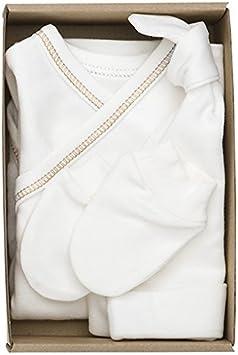 The Dida World Nones - Pack nacimiento con 1 bodi kimono repunte marrón, guantes y gorro, talla 0 meses