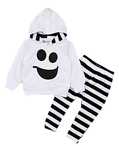 ezShe Baby Boys Halloween Costume Ghost Print Top Pants Outfits White -