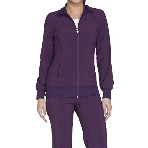 Cherokee Infinity by Women's Zip Front Warm-Up Solid Scrub Jacket Large Eggplant (Scrub Jacket Zip Front)