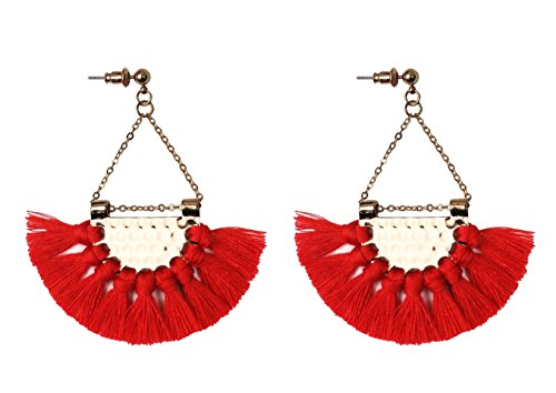 Textured Chandelier Earrings (Mina Gold Textured Disk Fringe Tassel Statement Global Tribal Hula Festival 2.5 Inch Drop Chandelier Red Earring)