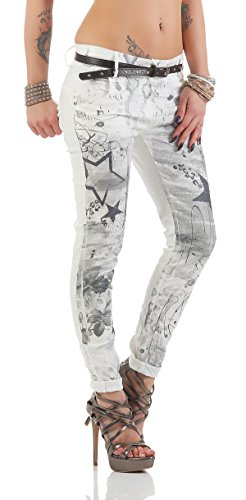 ZARMEXX Pantalones de las mujeres con los pantalones vaqueros holgados novio cinturón de los pantalones de Jeggings Chinos estrellas -Imprimir blanco
