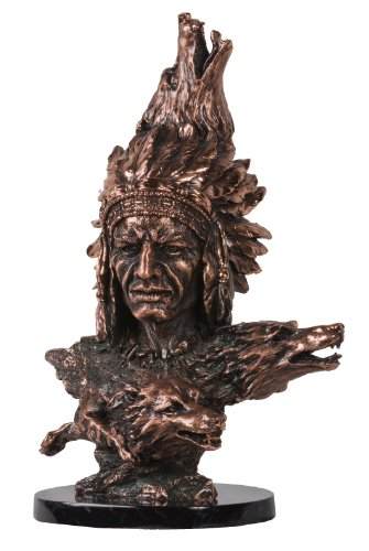 StealStreet SS-BA-C-D525, 15.5 Inch Copper Bust of Native American Chief with Wolf Heads Statue