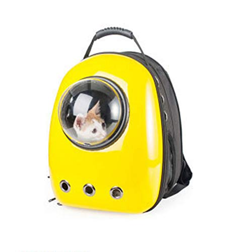 ZUOZUOZUO Cat Bag Pet Backpack Space Pet Cabin Bag Out Cat Cage Cat Portable Bag Dog Chest Shoulder Bag Lemon Yellow-9 Hole 32X29X42Cm