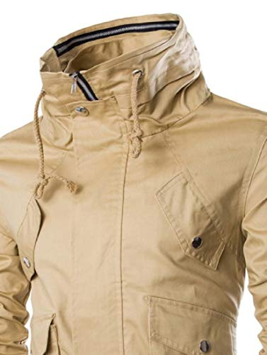 Pocket Full Multi Men Zip Overcoat Khaki Howme Jackets Windproof Fashion Y5PU1qx