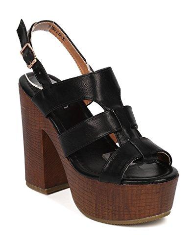 Women Leatherette Block Heel Sandal - Peep Toe Straps Platform Block Heel Sandal - HA46 by Alrisco - Black Leatherette (Size: (Girls Black Hazel Shoes)