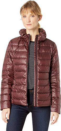 Via Spiga Women's Packable Soft Puffer with Ruffle Detailed Stand Collar Wine X-Small