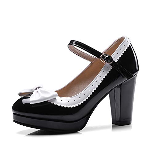 (HILIB Woman's high Heel Lolita Shoes Cute Bowknot Mary Jane Shoes Black)