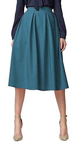 Urban GoCo Midi Jupe Plisse de Femmes Vintage De A-Ligne Taille Haute Jupe Longue Avec Poches Bleu Acier