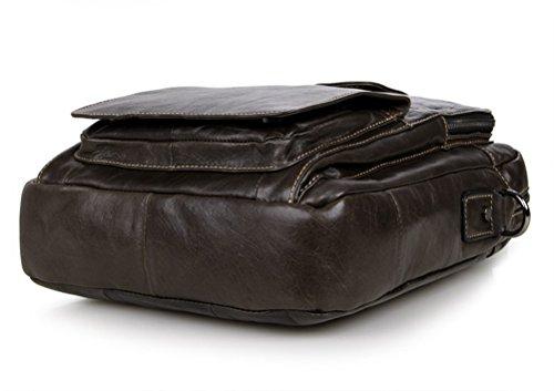 Simple Funktionell Herren Leder Schultertasche Messenger Bag Tasche Umhängetasche für Reise Alltag Outdoor Sports Grau-C
