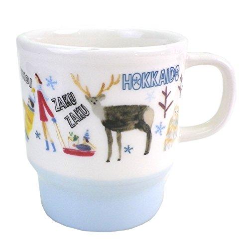 STARBUCKS 스타벅스 스타벅스 일본 한정 홋카이도 한정 머그컵 리뉴얼 디자인 눈 스노우 홋카이도에 서식하는 사슴의 일종 곰 곰 hokkaidou 지역 한정 본고장 한정백 화이트 옥색 블루 머그 컵 도기 355ml