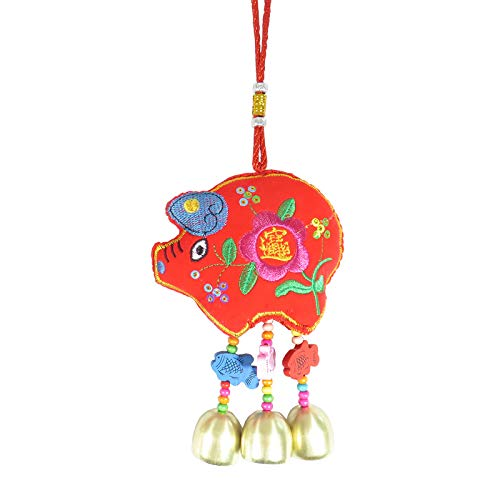 Astra Gourmet Tranditional Handworks Pig Wind Chimes Ornaments with Copper Bells 11.5