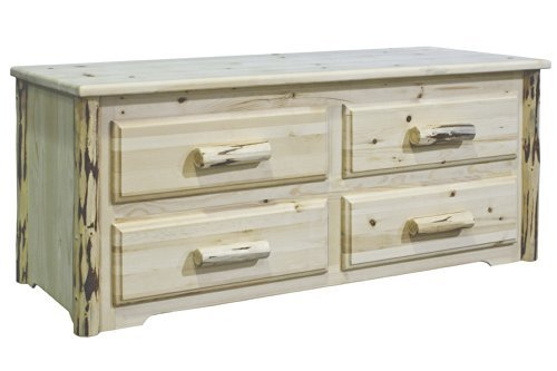 Montana Woodworks MWSCV Montana Collection 4-Drawer Sitting Chest, Clear Lacquer Finish