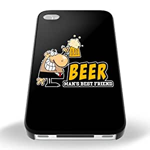 Black Cover For Iphone 4 / 4s Beer Man's Best Friend Funny Phone Case Shell