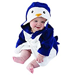 Baby Aspen, Wash & Waddle Penguin Hooded Spa Robe, Blue/White, 0-9 Months