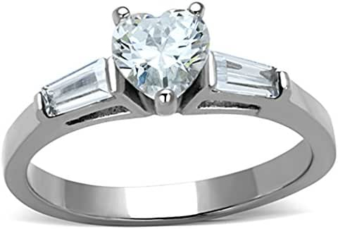 Mai Jewelry Shop & Hair Accessories Women's 3-Stone Heart Cubic Zirconia Engagement Ring