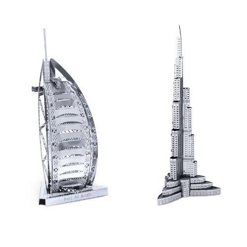 Set of 2 Metal Earth 3D Laser Cut Building Model Kits: Burj Al Arab & Burj Khalifa