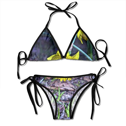 (Arkansas Narcissus Garden Bloom Flowers Women's Sexy Triangle Bathing Two Pieces Swimsuit Bikini Set Black)