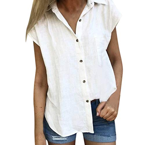 NEEKEY Women's Shirt, Fashion Solid Color Casual Loose Cotton Button Short-Sleeved Tops T-Shirt(Small,White)