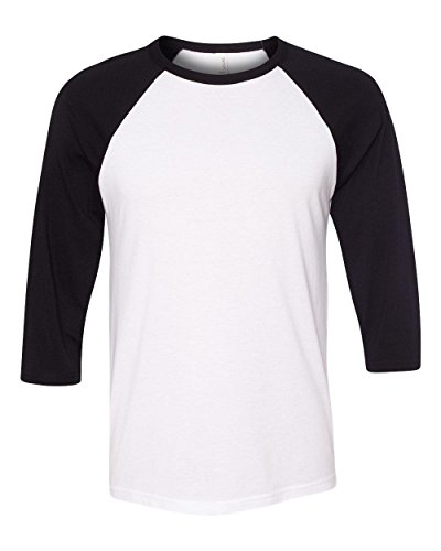 canvas-c3200-unisex-3-by-4-sleeve-baseball-tee-white-black-extra-large