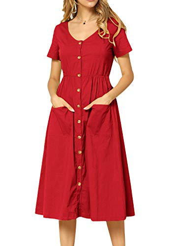 (Women Pleated Short Sleeve Loose Fit Modest Work Tunic Midi Dress Red)
