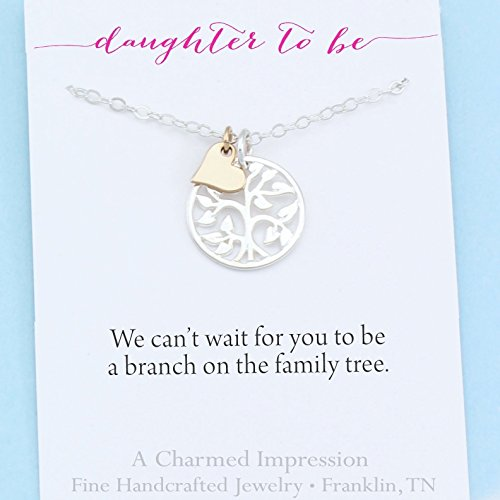 Daughter To Be Gift Welcome to Our Family Tree Sterling Silver Necklace 18 Inch Chain Silver Tree Gold Heart Charm Handcrafted Personalized Jewelry