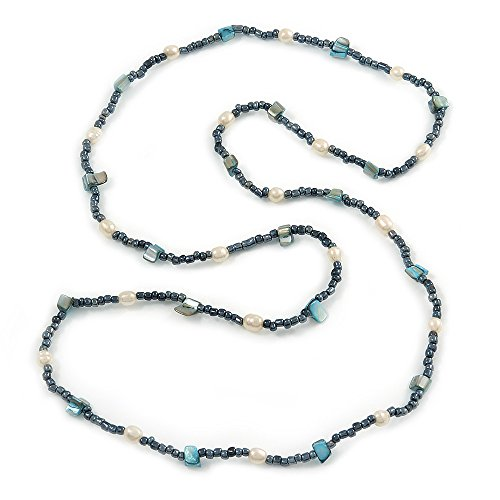 Avalaya Hematite Glass Bead, Freshwater Pearl and Shell Nugget Long Necklace - 108cm L (Nugget Pearl Long Necklace)