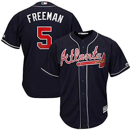 Outerstuff Freddie Freeman Atlanta Braves MLB Majestic Kids 4-7 Navy Alternate Cool Base Player Jersey (Kids 4)