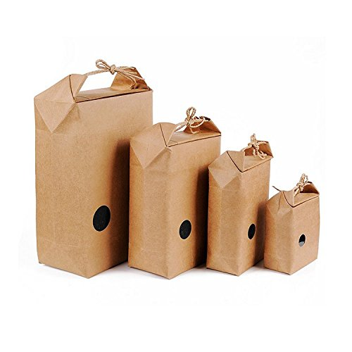 AUCH 25 Pack Nature Kraft Paper Food Carrier Bag Stand Up Bakery Pouch w/ Window & Knitting Cord for Tea Leaves Rice Specialty Nuts Gifts - 100% Nature Material - Small(94.912cm)
