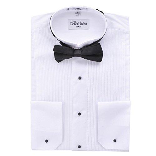 Berlioni Italy Men's Tuxedo Shirt Wingtip Collar with Bow Tie Dress Shirt White M (15-15 1/2) Sleeve 32/33