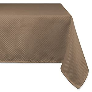 "DII Wrinkle Resistant Wide Tablecloth, 70 x 120"", Brown, Seats 10 to 12 People"