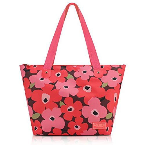 Bolsa De Colo Shopper Passeio Com Alça Zíper Poliéster Estampada Flores Jacki Design Salmão