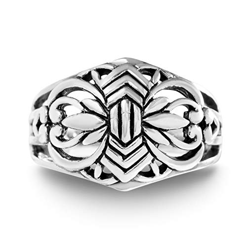 Willowbird Oxidized Sterling Silver Celtic Filigree Ring for Women (Size 6)