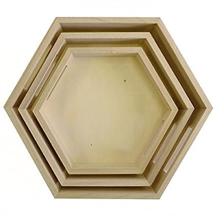 3 bandejas hexagonales de madera para decorar