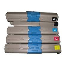 1 Set of 4 Moustache ® Okidata 44469801 44469703 44469702 44469701 (Type C17) BK/C/M/Y Premium Quality Black Cyan Magenta Yellow New Compatible Toner Cartridgee for Oki C330dn, C331dn, C530dn, C531dn, MC361, MC362W, MC561, MC562W, MC890, MC950, MC950 MFP