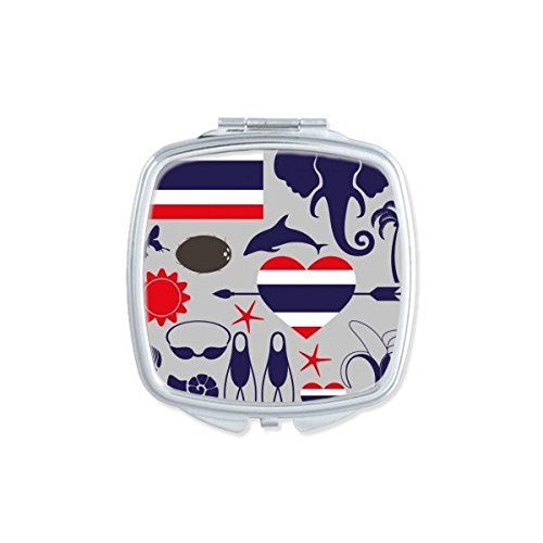 Kingdom of Thailand Thai Traditional Customs Culture Elephant Flag Art Illustration Square Compact Makeup Pocket Mirror Portable Cute Small Hand Mirrors by DIYthinker