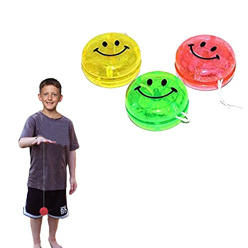 Toy Cubby Kids Party Favor Glittery Yo-yos Smiley Face Yoyo - 24 (Yoyo Toys)