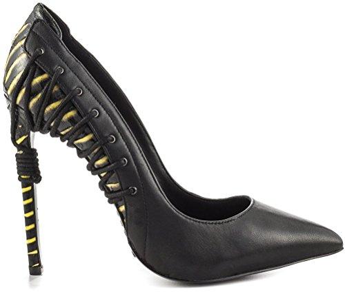 Sandalo Con Tacco Alto Giallo Nero Da 4 Pollici Per Donna
