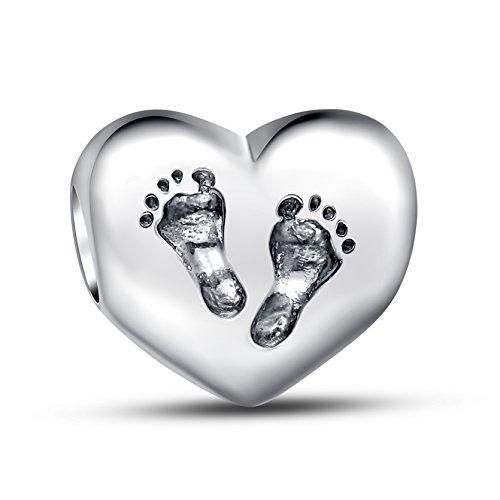 Glamulet Jewelry 925 Sterling Silver Footprints heart bead Fits Pandora