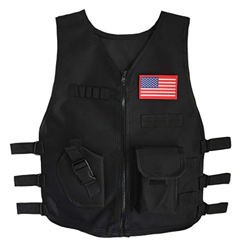 Gskids Tactical Vest Children Adjustable Military Fans Clothing Muti (Black, Large)]()