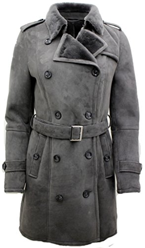 Women's Grey Luxurious Double Breasted Real Sheepskin Suede Pea Coat S (Double Breasted Peacoat Leather)