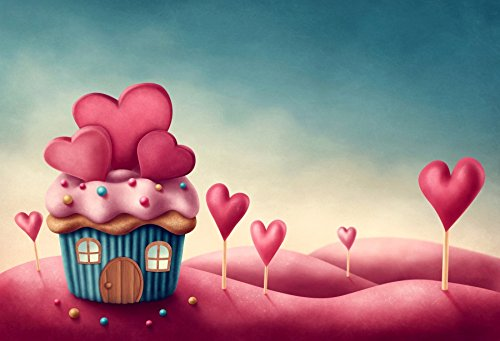 Laeacco 7x5ft Fantasy Sweet Cupcake House Background Pink Green Cake Smash Backdrop Dreamy Ice Cream Pink Heart Cartoon Backdrops for Photography Girls Princess Happy Birthday Party