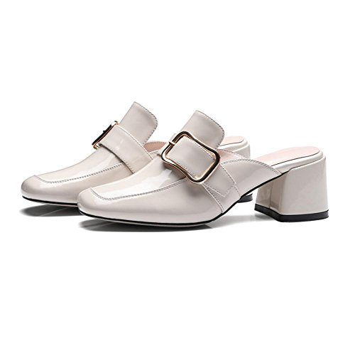 Heart&M de las mujeres hebilla cuadrada del color sólido de los deslizadores del dedo del pie cuadrado de tacón grueso de Patentes de cuero sandalias White
