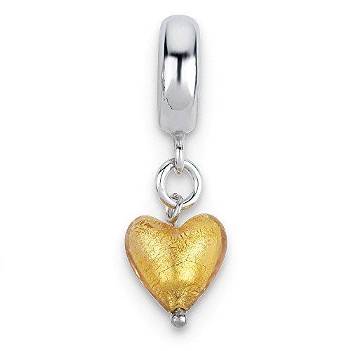 Jewelry Beads Dangle Sterling Silver Reflections Yellow Heart Italian Murano Dangle Bead ()