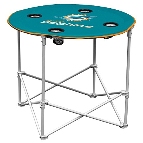 Miami Dolphins  Collapsible Round Table with 4 Cup Holders and Carry - Dolphin Shopping Miami