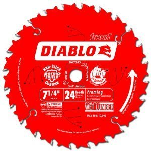 Diablo D0724P 7-1/4-Inch 24 Tooth ATB Carbide Framing Saw Blade with 5/8-Inch and Diamond Knockout Arbor (Pak of 2)