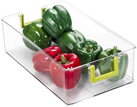 Ettori Refrigerator Organizer Bins Stackable Pantry Organization and Storage with Handles Freezer Organizer Bins Kitchen Countertops and Cabinets - Transparent Plastic