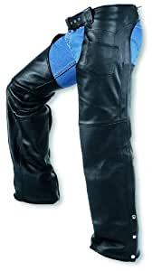 Carroll Leather Motorcycle Chaps with covered Zipper (Black, XX-Small)